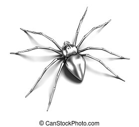 Spider - silver metallic. Black Widow. Isolated on white