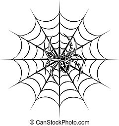 Spider tattoo - spider on web for tattoo. Vector...