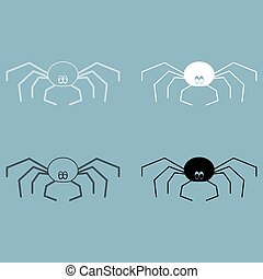 Spider the black and white color icon .