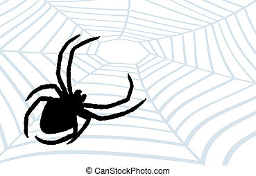 Spider the hunter. - A black spider on a web, a background,...