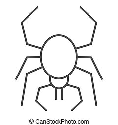 Spider thin line icon. Scary arachnid insect. Halloween party vector design concept, outline style pictogram on white background.