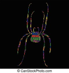 spider Typography word cloud colorful Vector illustration