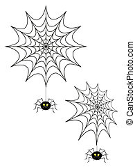 Spider - Vector illustration of two spider webs and spiders