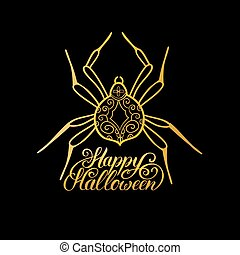 Spider vector illustration with Happy Halloween lettering. All Saints Eve background. Festive card design.
