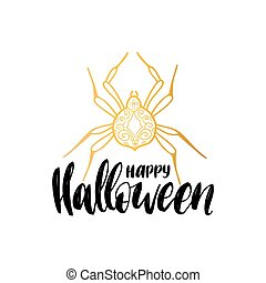 Spider vector illustration with Happy Halloween lettering for party invitation card, poster. All Saints Eve background