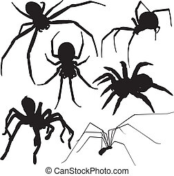 Spider vector silhouettes