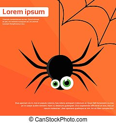 Spider Web Black Funny Eyes Flat Icon Silhouette