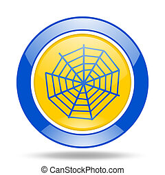 spider web blue and yellow web glossy round icon