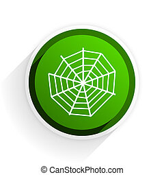 spider web flat icon with shadow on white background, green modern design web element