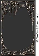 Spider web frame rectangle on black background