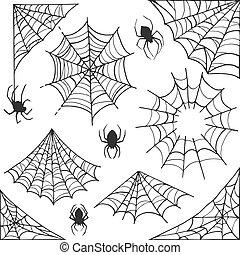 Spider web Halloween symbol. Cobweb decoration elements...