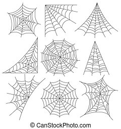 Spider web icons photo realistic vector set - Spider web...