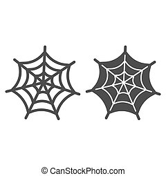 Spider web line and solid icon. Scary insect house mesh. Halloween party vector design concept, outline style pictogram on white background.