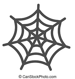 Spider web line icon. Scary insect house mesh. Halloween party vector design concept, outline style pictogram on white background.