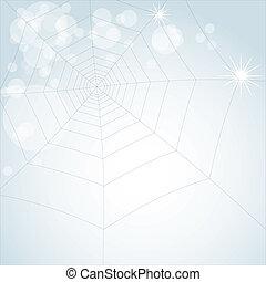 spider web on light shiny background - illustration