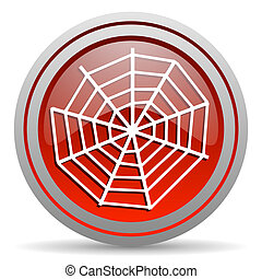 spider web red glossy icon on white background