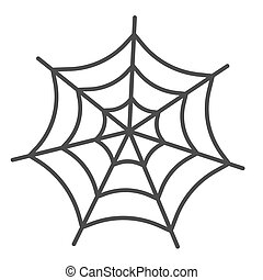 Spider web thin line icon. Scary insect house mesh. Halloween party vector design concept, outline style pictogram on white background.