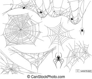 Spider web, vector set of elements