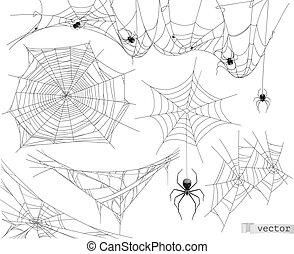 Spider web, vector set of elements