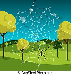 Spider Web with Dew and Meadow on Background