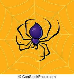 Spider with Web Background - Vector drawing of a spider with...