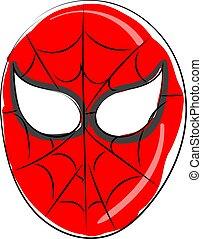 Spiderman mask, illustration, vector on white background.