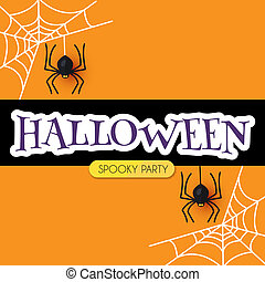 spiders., conception, halloween, toile araignée, gabarit