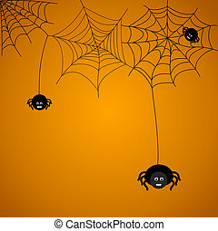 Spiders - Halloween background. The spider weaves a web.