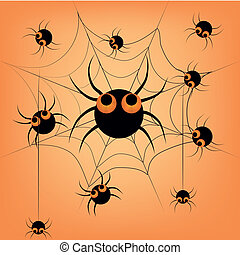 spiders in halloween - a lot of black spiders in a web in an...