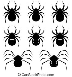 Spiders - Set black spiders on white background.