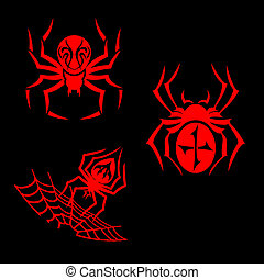 Spiders tattoo - Set of spiders for tribal tattoo design