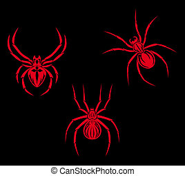 Set of spiders for tribal tattoo design