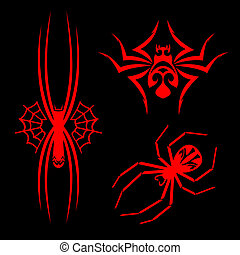 Spiders tattoos - Set of spiders for tribal tattoo design