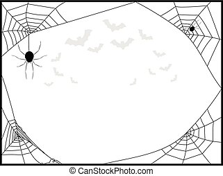 Spiders Web Square Frame with Flying Bats in Black
