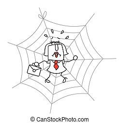 Spiderweb and the businesswoman
