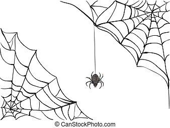Spiderweb. Big black spider web. Black scary spider of web. ...