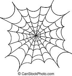 Spiderweb on white background