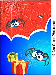 Spiderweb, spider and gifts - composition with spiders, ...