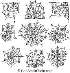 Spiderweb. Spooky cobweb and web corners with spider....