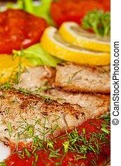 spieß, fische, schmackhaft, filet, barsch