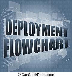 spiegamento, diagramma flusso, su, affari, digitale, schermo tocco