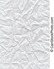 spiegazzato, bianco, carta, struttura, fondo.