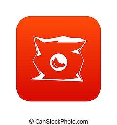 spiegazzato, borsa, patatine fritte, icona, digitale, rosso