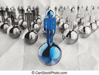 spiegazzato, concetto, rete, inossidabile, umano, carta, direzione, sociale, 3d