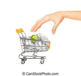 spiegazzato, concetto, shopping, recylcing, carrello, carta