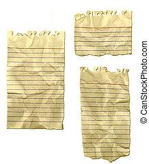 spiegazzato, strappato, carta, vecchio, quaderno