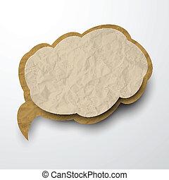spiegazzato, vecchio, cloud., carta