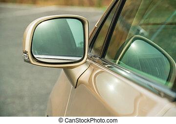 spiegel, auto, foto, bovenkant, gold-coloured, rear-view