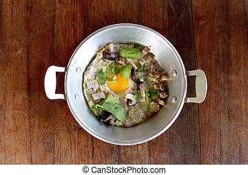 spiegelei, in, pfanne, thailändische speise
