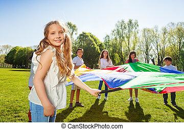 spiel, aktive, m�dchen, reizend, friends, spielende